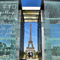 Wall for Peace Monument and Eiffel Tower at Champ de Mars in Paris, France<br />