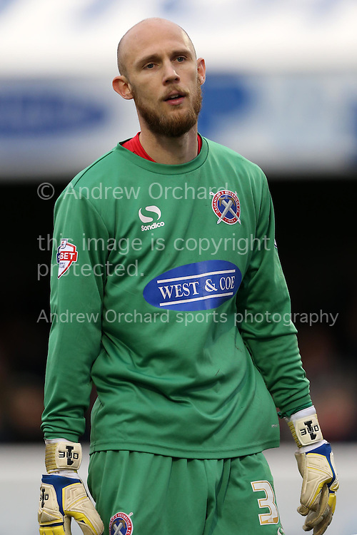 Goalkeeper Mark Cousins of Dagenham &amp; Redbridge looks on. The Emirates FA Cup, 2nd round match, Dagenham &amp; Redbridge v Whitehawk FC at the The London Borough of Barking &amp; Dagenham Stadium in London on Sunday 6th December 2015.<br /> pic by John Patrick Fletcher, Andrew Orchard sports photography.
