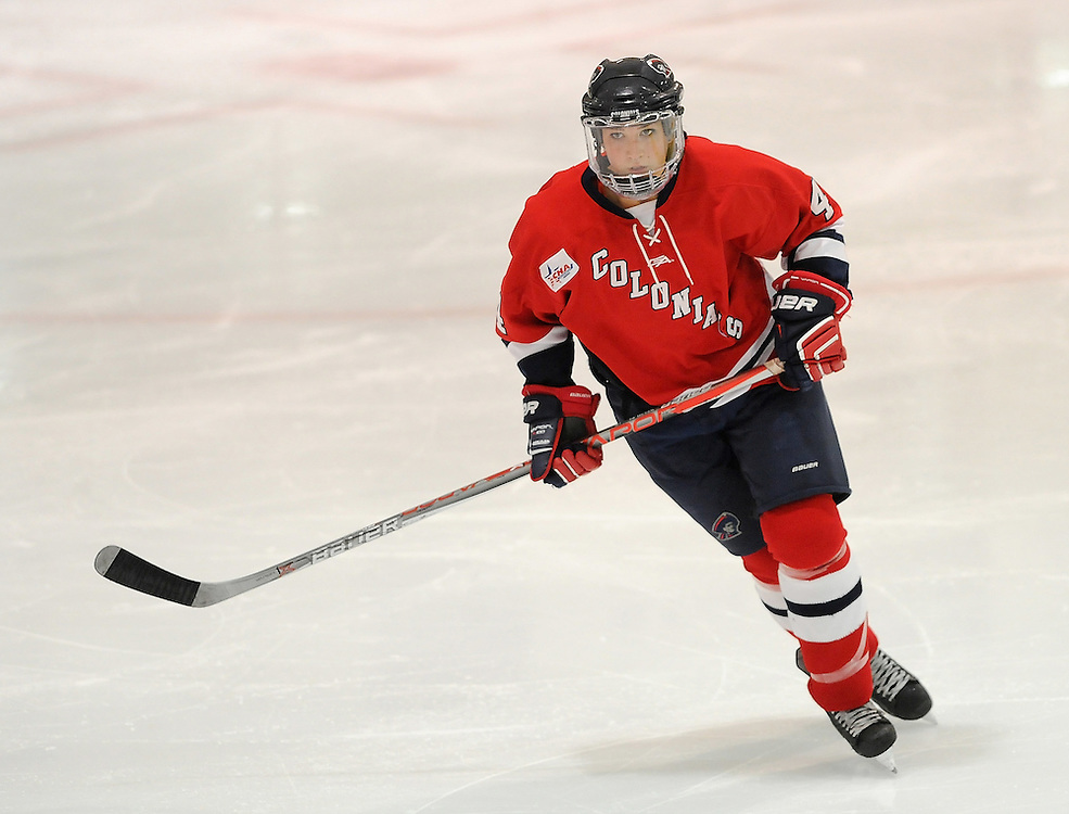 PITTSBURGH, PA - OCTOBER 14:  Kirsten Welsh #4 of the Robert Morris Colonials skates in the third period during the game against the Vermont Catamounts at 84 Lumber Arena on October 14, 2016 in Pittsburgh, Pennsylvania. (Photo by Justin Berl)