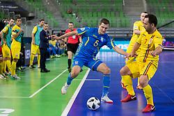Andrii Khamdamov of Ukraine and Florin Ignat of Romania during futsal match between Romania and Ukraine at Day 4 of UEFA Futsal EURO 2018, on February 2, 2018 in Arena Stozice, Ljubljana, Slovenia. Photo by Urban Urbanc / Sportida