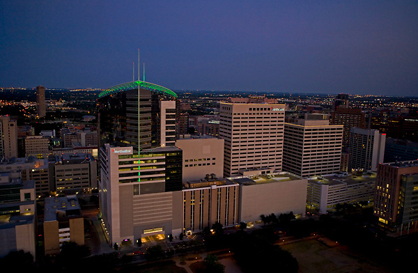Evening aerial view of Methodist Hospital and the Texas Medical Center in Houston, Texas.
