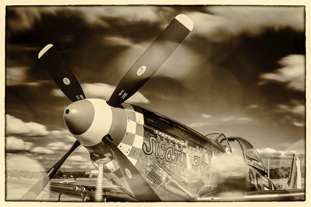 "The ""Swamp Fox"", a fully restored and airworthy P-51D Mustang fighter plane."