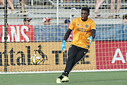 NYCFC Goalkeeper Sean Johnson (1) warms up in a MLS soccer game against FC Dallas, Sunday, Sept. 22, 2019, in Frisco, Tex. FC Dallas and New York FC draw 1-1 (Wayne Gooden/Image of Sport)