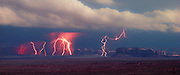 Lightning storm, Monument Valley, Arizona, panorama