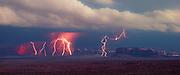 Lightning storm, Monument Valley, Arizona, panorama