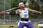 May 24, 2019; Sacramento, CA, USA; Jesse Newman of Grand Canyon throws in the javelin during the NCAA West Preliminary at Hornet Stadium.