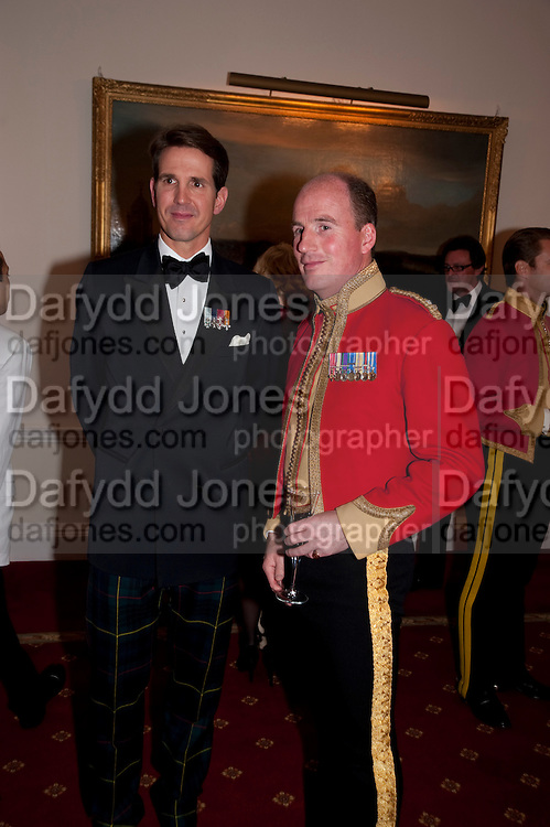 PRINCE PAVLOS; JONATHAN BARTHOLOMEW COMMANDING OFFICER, Charity Dinner in aid of Caring for Courage The Royal Scots Dragoon Guards Afganistan Welfare Appeal. In the presence of the Duke of Kent. The Royal Hospital, Chaelsea. London. 20 October 2011. <br /> <br />  , -DO NOT ARCHIVE-&copy; Copyright Photograph by Dafydd Jones. 248 Clapham Rd. London SW9 0PZ. Tel 0207 820 0771. www.dafjones.com.