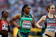 Great Britain, London - 2017 August 04: (C) Caster Semenya from South Africa competes in women&rsquo;s 1500m qualification during IAAF World Championships London 2017 at  London Stadium on August 04, 2017 in London, Great Britain.<br /> <br /> Mandatory credit:<br /> Photo by &copy; Adam Nurkiewicz<br /> <br /> Adam Nurkiewicz declares that he has no rights to the image of people at the photographs of his authorship.<br /> <br /> Picture also available in RAW (NEF) or TIFF format on special request.<br /> <br /> Any editorial, commercial or promotional use requires written permission from the author of image.