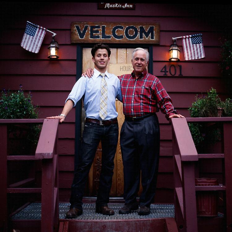 GIRDWOOD, ALASKA - 2010: Owner of the Double Musky Inn, Justin Persons, and his Father, the original owner of The Double Musky Inn.