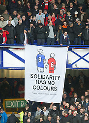 28.10.2012, Goodison Park, Liverpool, ENG, Premier League, FC Everton vs FC Liverpool, 9. Runde, im Bild A Liverpool supporters' banner 'Solidarity Has No Colours - Thank-You for your support' during the English Premier League 9th round match between Everton FC and Liverpool FC at the Goodison Park, Liverpool, Great Britain on 2012/10/28. EXPA Pictures © 2012, PhotoCredit: EXPA/ Propagandaphoto/ David Rawcliffe..***** ATTENTION - OUT OF ENG, GBR, UK *****