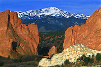 America's Mountain.  14,110 ft. Pikes Peak and the sandstone formations  in the Garden of the Gods.  Colorado Springs, Colorado.