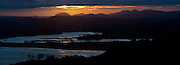 Whangaumu Bay sunset panoramic, from Tutukaka, New Zealand.