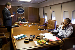 President Barack Obama talks on the phone with Prime Minister Benjamin Netanyahu of Israel aboard Air Force One during the flight to Louisville, Ky., April 2, 2015. With the President, from left, are Personal Aide Joe Paulsen and Colin Kahl, National Security Advisor to the Vice President.  (Official White House Photo by Pete Souza)<br /> <br /> This official White House photograph is being made available only for publication by news organizations and/or for personal use printing by the subject(s) of the photograph. The photograph may not be manipulated in any way and may not be used in commercial or political materials, advertisements, emails, products, promotions that in any way suggests approval or endorsement of the President, the First Family, or the White House.