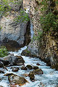 Sinclair Falls, in Sinclair Canyon, along Juniper Trail in Kootenay National Park, Radium Hot Springs, British Columbia, Canada.