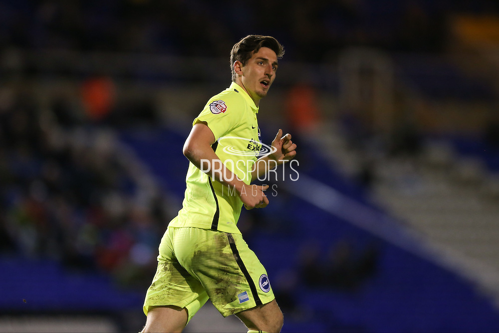 Goal scorer Brighton central defender, Lewis Dunk (5)  during the Sky Bet Championship match between Birmingham City and Brighton and Hove Albion at St Andrews, Birmingham, England on 5 April 2016. Photo by Simon Davies.