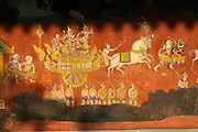 Phnom Penh, Cambodia. Royal Palace. Silver Pagoda Compound. Reamker (Ramayana) frescoes on the surrounding wall.