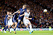 Scotland midfielder Scott McTominay (6) (Manchester United) beats Andrey Semenov of Russia (5) (Akhmat Grozny) during the UEFA European 2020 Qualifier match between Scotland and Russia at Hampden Park, Glasgow, United Kingdom on 6 September 2019.