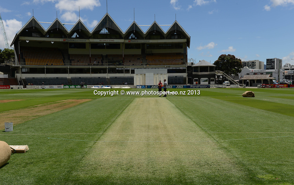 The playing strip and wicket showing a green surface ahead of the 2nd test match against the West Indies starting at the Basin Reserve in Wellington tomorrow. Tuesday 10 December 2013. Photo: Andrew Cornaga / www.Photosport.co.nz