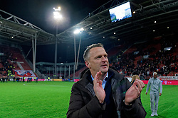 Coach John van den Brom # of FC Utrecht celebrate after  the semi final KNVB Cup between FC Utrecht and Ajax Amsterdam at Stadion Nieuw Galgenwaard on March 04, 2020 in Amsterdam, Netherlands