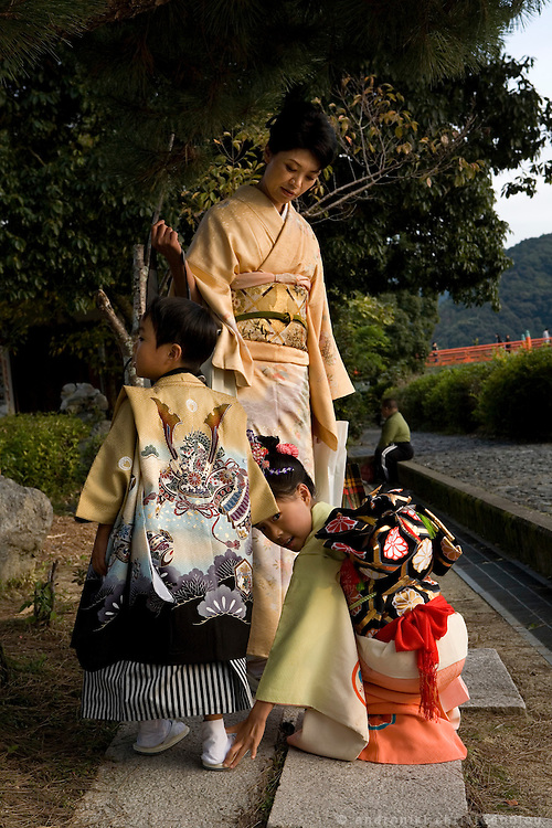 Family in Uji city south of Kyoto. The last 10 chapters of The Genji are set in and around what was then the wild and remote area of Uji..