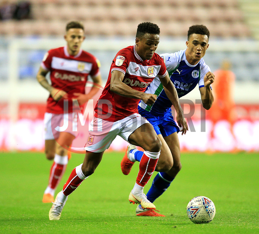 Bristol City's Niclas Eliasson takes on Wigan Athletic's Antonee Robinson - Mandatory by-line: Matt McNulty/JMP - 21/09/2018 - FOOTBALL - DW Stadium - Wigan, England - Wigan Athletic v Bristol City - Sky Bet Championship