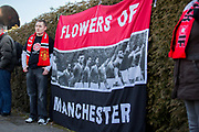 Flowers of Manchester flag during the ceremony at Manchesterplatz, Munich, Germany. Picture by Phil Duncan.