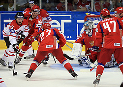Shane Doan of Canada vs Daniil Markov (55) of Russia, Alexei Tereshchenko (27) of Russia infront of goalkeeper Evgeny Nabokov at  ice-hockey game Canada vs Russia at finals of IIHF WC 2008 in Quebec City,  on May 18, 2008, in Colisee Pepsi, Quebec City, Quebec, Canada. Win of Russia 5:4 and Russians are now World Champions 2008. (Photo by Vid Ponikvar / Sportal Images)