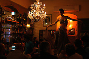 Belly dancer  dances on the bar in the Nanochka bar restaurant