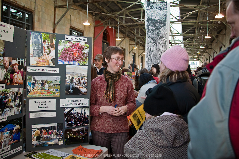 Anne Freeman of the Toronto Farmers' Market Network at Toronto's Seedy Saturday 2009 at the Stop's Green Barn  (Toronto, Canada)