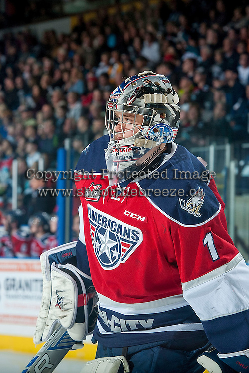 KELOWNA, CANADA - MARCH 27: Eric Comrie #1 of Tri-City Americans skates to the net against the Kelowna Rockets on March 27, 2015 at Prospera Place in Kelowna, British Columbia, Canada.  (Photo by Marissa Baecker/Shoot the Breeze)  *** Local Caption *** Eric Comrie;