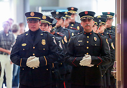 June 8, 2017 - Florida, U.S. - The Palm Beach County Fire Rescue Honor Guard enters Christ Fellowship in Palm Beach Gardens for a celebration of life for Paul Besaw and Lahiri Garcia Thursday, June 8, 2017. Garcia and Besaw, medical technicians who  worked for American Medical Response, were killed in a vehicle crash. (Credit Image: © Bruce R. Bennett/The Palm Beach Post via ZUMA Wire)