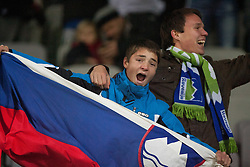 Fans of Slovenia during friendly football match between National teams of USA and Slovenia, on November 15, 2011 in SRC Stozice, Ljubljana, Slovenia. USA defeated Slovenia 3-2. (Photo By Vid Ponikvar / Sportida.com)