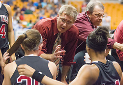 Bluefield head coach Tony Mallamaci talks to his team during a timeout against Wyoming East during a first round game at the Charleston Civic Center.