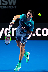 January 7, 2019 - Sydney, NSW, U.S. - SYDNEY, AUSTRALIA - JANUARY 07: Milos Raonic (CAN) serves at The Sydney FAST4 Tennis Showdown on January 07, 2018, at Qudos Bank Arena in Homebush, Australia. (Photo by Speed Media/Icon Sportswire) (Credit Image: © Steven Markham/Icon SMI via ZUMA Press)