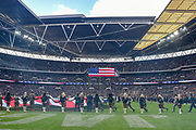 General view during national anthem at the International Series match between Jacksonville Jaguars and Philadelphia Eagles at Wembley Stadium, London, England on 28 October 2018.