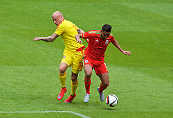 CARDIFF, WALES - Friday, June 5, 2015: Wales' Neil Taylor and David Cotterill during a practice match at the Cardiff City Stadium ahead of the UEFA Euro 2016 Qualifying Round Group B match against Belgium. (Pic by David Rawcliffe/Propaganda)