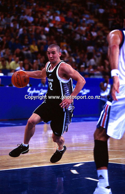 Mark Dickel during the Men's basketball match between the New Zealand Tall Blacks and France at the Olympics in Sydney, Australia on 17 September, 2000. Photo: PHOTOSPORT<br /><br /><br /><br /><br />170900 *** Local Caption ***
