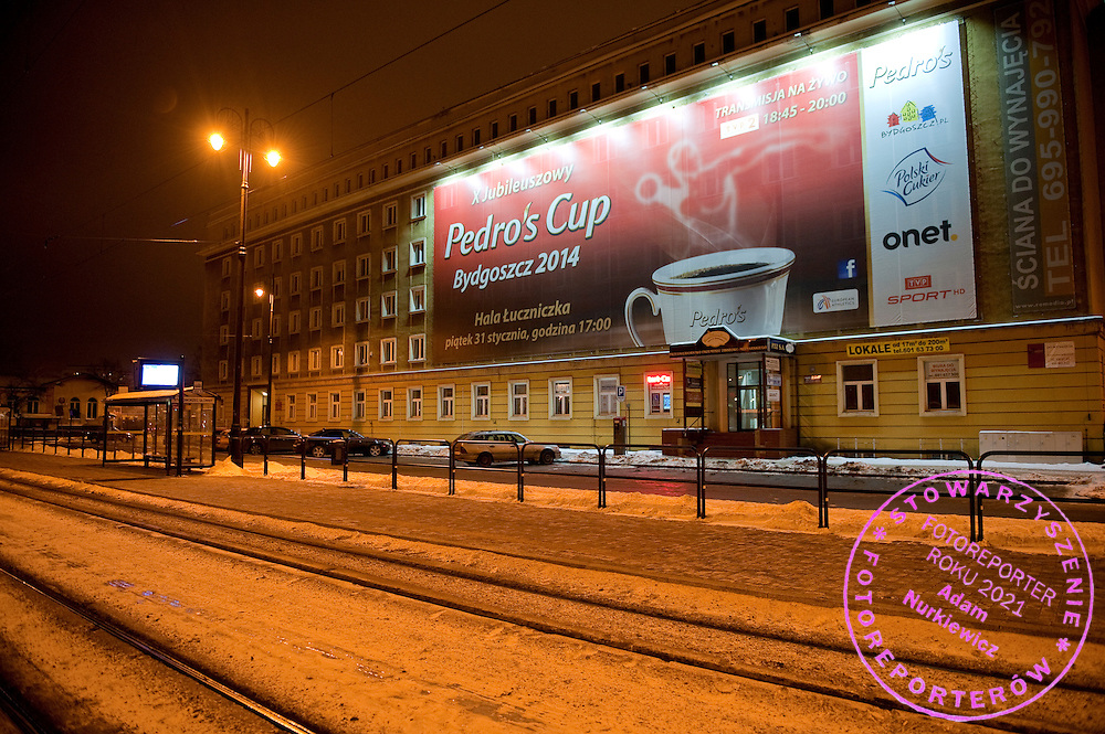 City centre of Bydgoszcz near railway station one day before  athletics meeting Pedro's Cup 2014 2014 at Luczniczka Hall in Bydgoszcz, Poland.<br /> <br /> Poland, Bydgoszcz, January 31, 2014.<br /> <br /> Picture also available in RAW (NEF) or TIFF format on special request.<br /> <br /> For editorial use only. Any commercial or promotional use requires permission.<br /> <br /> Mandatory credit:<br /> Photo by &copy; Adam Nurkiewicz / Mediasport