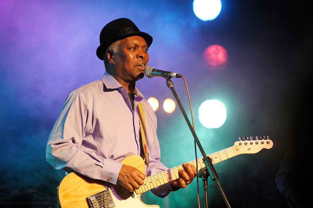 Booker T. Jones, US blues singer musician performing in the main stage marquee. Maryport Blues Festival, 2010. Cumbria, England