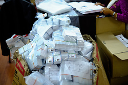 April 27, 2017 - Kathmandu, Nepal - Voter's identity cards packed for the upcoming local election at the election commission in Kathmandu, Nepal on April 27, 2017. Nepal is scheduled to vote for the local level general election on May 14, 2017. (Credit Image: © Sunil Pradhan/NurPhoto via ZUMA Press)