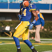 11/12/11 Newark DE: Delaware Cornerback Laquan James #14 attempts to catch the pass during warm ups prior to a Week 10 NCAA football game against Richmond...Special to The News Journal/SAQUAN STIMPSON