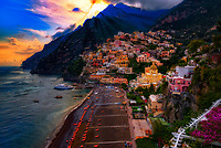 &ldquo;The mystical evening sunlight peeking through the clouds of Positano&rdquo;&hellip;<br />