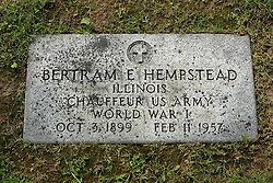 31 August 2017:   Veterans graves in Park Hill Cemetery in eastern McLean County.<br /> <br /> Bertram E Hempsteas Illinois Chauffeur US Army World War I Oct 3 1899 Feb 11 1957