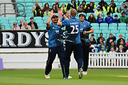 Calum Haggett celebrates taking the wicket of Mark Stoneman during the Royal London 1 Day Cup match between Surrey County Cricket Club and Kent County Cricket Club at the Kia Oval, Kennington, United Kingdom on 12 May 2017. Photo by Jon Bromley.