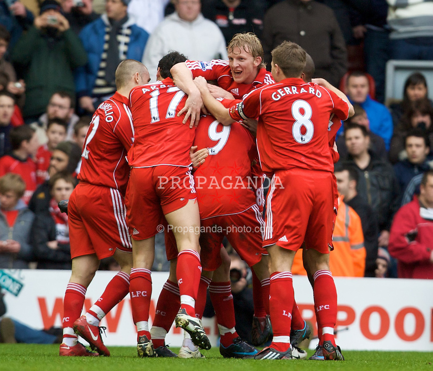 LIVERPOOL, ENGLAND - Saturday, February 23, 2008: Liverpool's Fernando Torres celebrates with team-mates after scoring Liverpool's second goal against Midlesbrough during the Premiership match at Anfield. (Photo by David Rawcliffe/Propaganda)