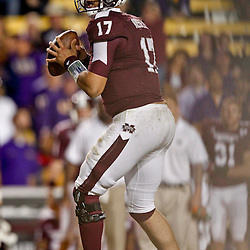 November 10, 2012; Baton Rouge, LA, USA; Mississippi State Bulldogs quarterback Tyler Russell (17) throws against the LSU Tigers during the second half of a game at Tiger Stadium.  LSU defeated Mississippi State 37-17. Mandatory Credit: Derick E. Hingle-US PRESSWIRE