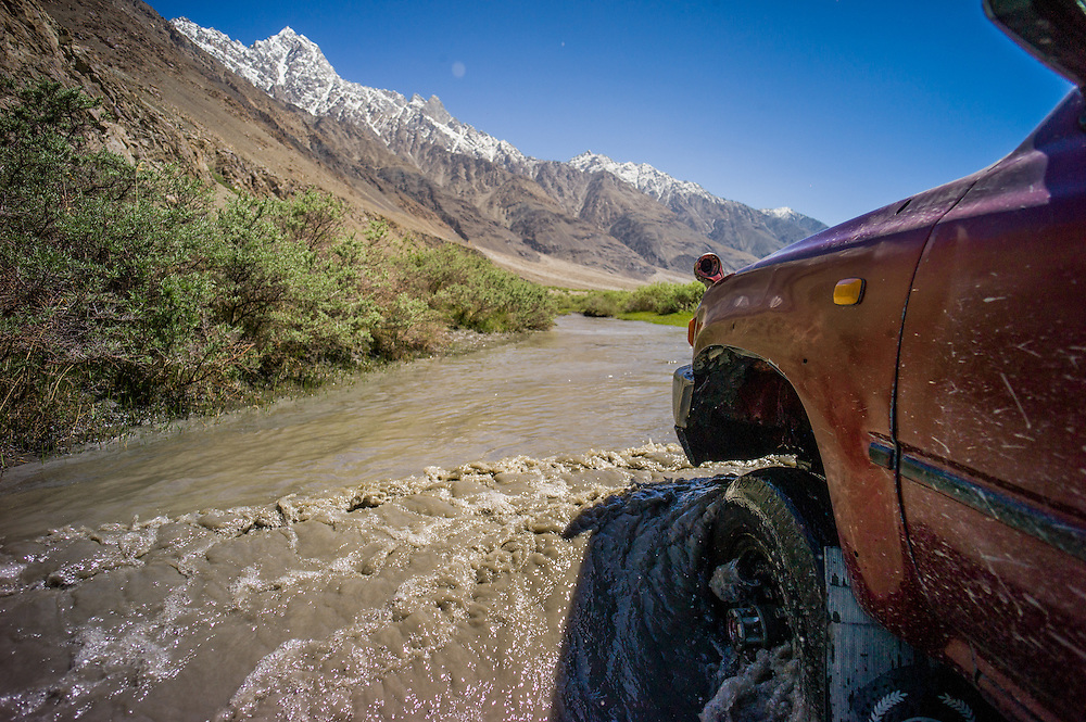 The journey in took 4 days driving between Dushanbe, Tajikistan and Sarhad village in the Wakhan. The Afghan jeeps were considerably less well equipped than the Tajik ones. Snow melt meant the rivers are swollen in June, and there are fe bridges in the Wakhan.