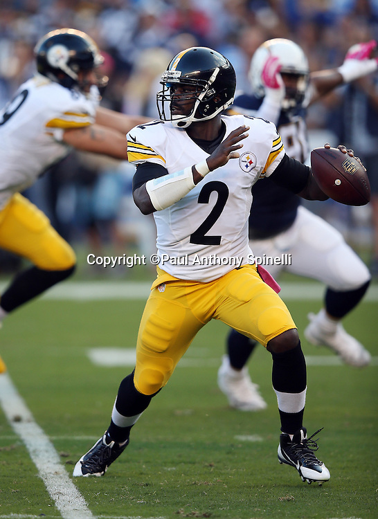 Pittsburgh Steelers quarterback Mike Vick (2) throws for a first quarter first down during the 2015 NFL week 5 regular season football game against the San Diego Chargers on Monday, Oct. 12, 2015 in San Diego. The Steelers won the game 24-20. (©Paul Anthony Spinelli)