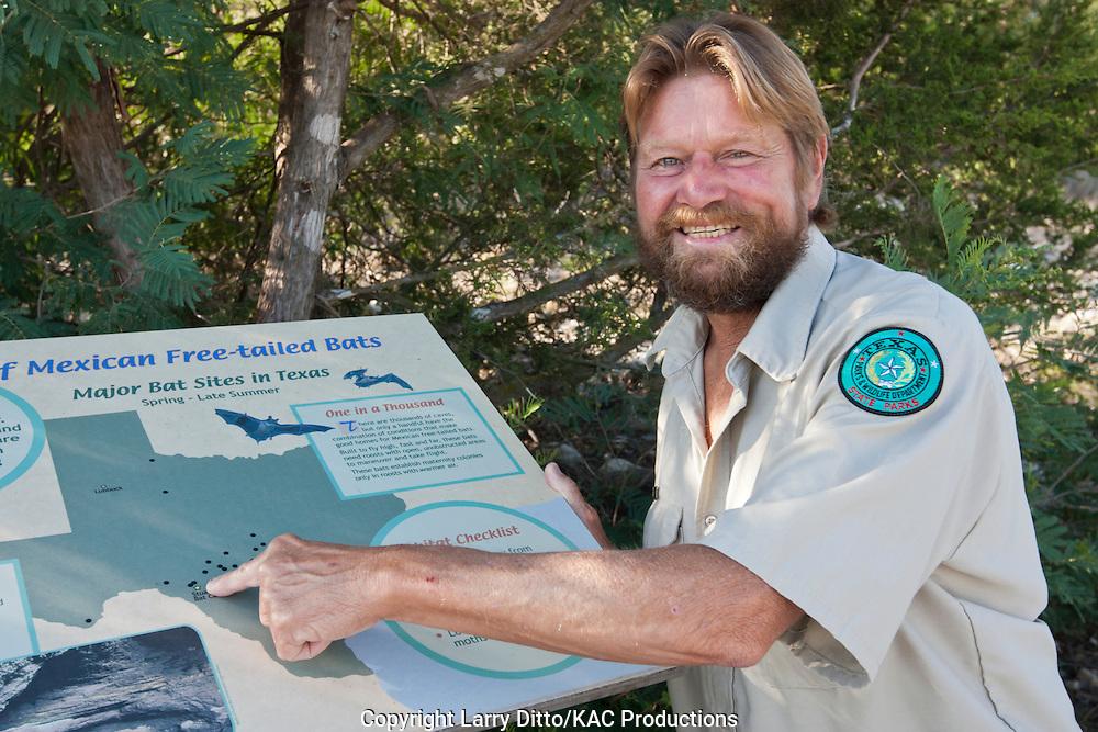 Kickapoo Cavern State Park Superintendent, Mike Knezek, interpretive exhibit, bat caves of Texas.