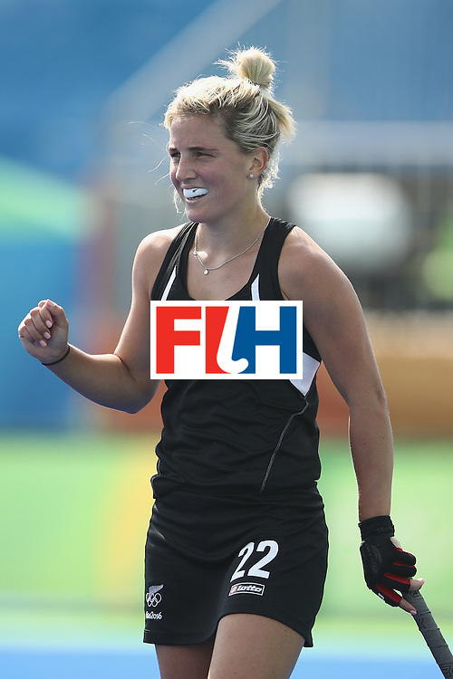 RIO DE JANEIRO, BRAZIL - AUGUST 07:  Gemma Flynn New Zealand celebrates winning a penalty corner for her side during the women's pool A match between New Zealand and the Republic of Korea on Day 2 of the Rio 2016 Olympic Games at the Olympic Hockey Centre on August 7, 2016 in Rio de Janeiro, Brazil.  (Photo by Mark Kolbe/Getty Images)